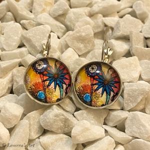 Cabochon Glas Ohrringe Ohrhänger 18mm, Blumig bunt Design, Silberfarbenes Metall       - Handarbeit kaufen