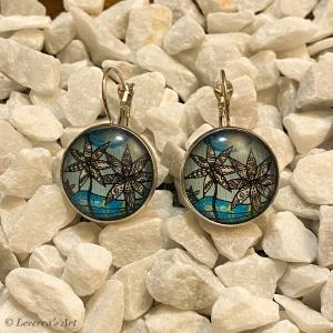 Cabochon Glas Ohrringe Ohrhänger 18mm, Blumig Blau Design, Silberfarbenes Metall        - Handarbeit kaufen