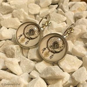 Cabochon Glas Ohrringe Ohrhänger 18mm, Eule Traumfänger Design, Silberfarbenes Metall        - Handarbeit kaufen