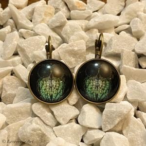 Cabochon Glas Ohrringe Ohrhänger 18mm, Eule Traumfänger Design, Schwarz, Bronzefarbenes Metall       - Handarbeit kaufen