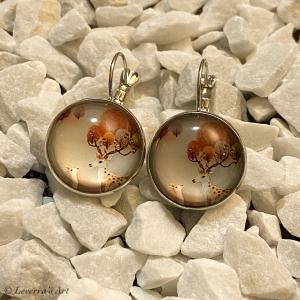 Cabochon Glas Ohrringe Ohrhänger 18mm,  Hirsch Rentier Design, Silberfarbenes Metall      - Handarbeit kaufen