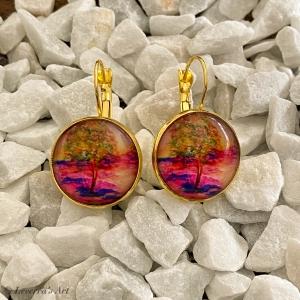 Cabochon Glas Ohrringe Ohrhänger 18mm,   Wasserfarbe Gemälde Design, Goldfarbenes Metall       - Handarbeit kaufen
