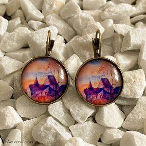 Cabochon Glas Ohrringe Ohrhänger 18mm,   Wasserfarbe Gemälde Design, Bronzefarbenes Metall       - Handarbeit kaufen