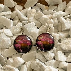 Cabochon Glas Ohrringe Ohrhänger 18mm,   Flamingo Design, Silberfarbenes Metall    - Handarbeit kaufen