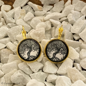 Cabochon Glas Ohrringe Ohrhänger 18mm, Lebensbaum Design, Schwarz Weiß, Goldfarbenes Metall      - Handarbeit kaufen