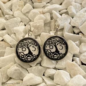 Cabochon Glas Ohrringe Ohrhänger 18mm, Lebensbaum Design, Schwarz Weiß, Silberfarbenes Metall      - Handarbeit kaufen