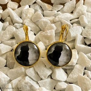 Cabochon Glas Ohrringe Ohrhänger 18mm, Katzen auf dem Baum Design, Goldfarbenes Metall