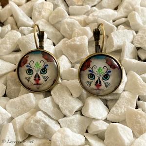 Cabochon Glas Ohrringe Ohrhänger 18mm, Katze Design, Bronzefarbenes Metall       - Handarbeit kaufen