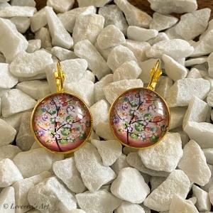 Cabochon Glas Ohrringe Ohrhänger 18mm, Frühlings Design, Goldfarbenes Metall    - Handarbeit kaufen