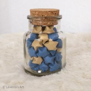 Origami Papier Sterne im Glas (S) mit Korken, handgemacht, Perfektes Geschenk, Tolle Dekoration  - Handarbeit kaufen