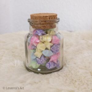 Origami Papier Sterne im Glas (S) mit Korken, handgemacht, Perfektes Geschenk, Tolle Dekoration, Leuchten im Dunkel
