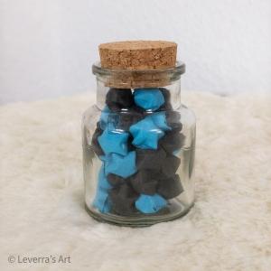 Origami Papier Sterne im Glas (S) mit Korken, handgemacht, Perfektes Geschenk, Tolle Dekoration, Schwarz Blau - Handarbeit kaufen