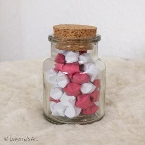 Origami Papier Sterne im Glas (S) mit Korken, handgemacht, Perfektes Geschenk, Tolle Dekoration, Rosa Weiß - Handarbeit kaufen