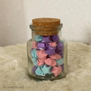 Origami Papier Sterne im Glas (S) mit Korken, handgemacht, Perfektes Geschenk, Tolle Dekoration, Pastell Blau Lila Rosa - Handarbeit kaufen