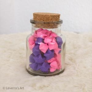 Origami Papier Sterne im Glas (S) mit Korken, handgemacht, Perfektes Geschenk, Tolle Dekoration, Lila Pink - Handarbeit kaufen