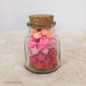 Origami Papier Sterne im Glas (S) mit Korken, handgemacht, Perfektes Geschenk, Tolle Dekoration, Farbverlauf Rot - Handarbeit kaufen