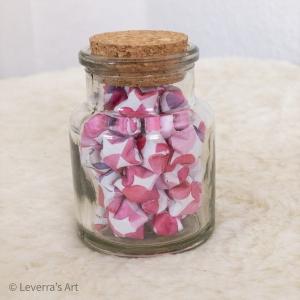 Origami Papier Sterne im Glas (S) mit Korken, handgemacht, Perfektes Geschenk, Tolle Dekoration, Bunt - Handarbeit kaufen