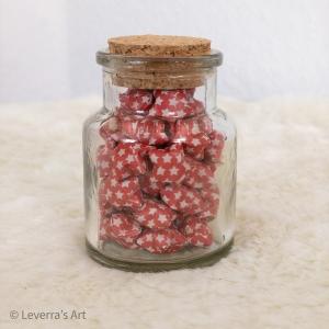 Origami Papier Sterne im Glas (S) mit Korken, handgemacht, Perfektes Geschenk, Tolle Dekoration, Sternchen muster, Rot - Handarbeit kaufen