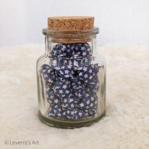 Origami Papier Sterne im Glas (S) mit Korken, handgemacht, Perfektes Geschenk, Tolle Dekoration, Sternchen muster,  - Handarbeit kaufen
