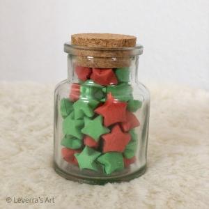 Origami Papier Sterne im Glas (S) mit Korken, handgemacht, Perfektes Geschenk, Tolle Dekoration, Weihnachten, Rot Grün - Handarbeit kaufen
