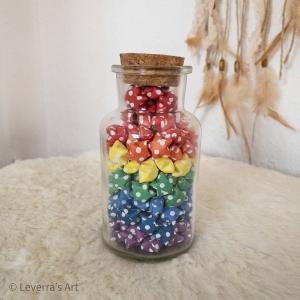Origami Papier Sterne im Glas (L) mit Korken, handgemacht, Perfektes Geschenk, Tolle Dekoration, Regenbogen, Gepunktetes Muster - Handarbeit kaufen