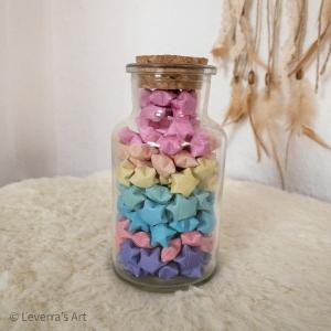 Origami Papier Sterne im Glas (L) mit Korken, handgemacht, Perfektes Geschenk, Tolle Dekoration, Regenbogen, Pastel