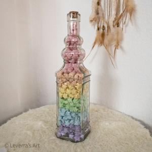 Origami Papier Sterne im Glas mit Korken, handgemacht, Perfektes Geschenk, Tolle Dekoration, Regenbogen Pastell