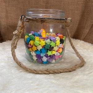 Origami Papier Sterne im Glas Bunt, Windlicht zum hängen, mit LED Kerze, Kawaii, handgemacht, Perfektes Geschenk, Tolle Licht Dekoration - Handarbeit kaufen