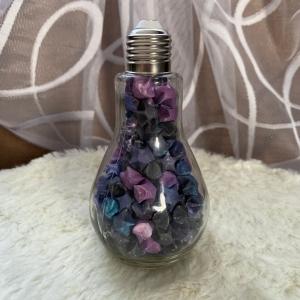 Origami Papier Sterne im Glas in Form einer Glühbirne, handgemacht, Perfektes Geschenk, Tolle Dekoration, Galaxy Galaxis  - Handarbeit kaufen