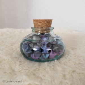 Origami Paper Stars in Glass Hexagonal with Cork, Handmade, Perfect Gift, Great Decoration, Galaxy Galaxis - Handarbeit kaufen