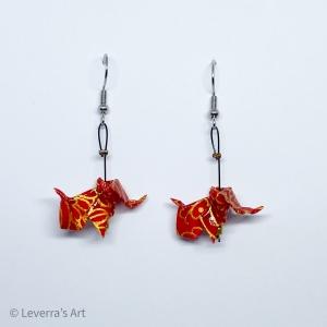 Origami Elefant Ohrringe, Japanisch, Handgemacht Schmuck, Perfektes Geschenk, Rot Gold