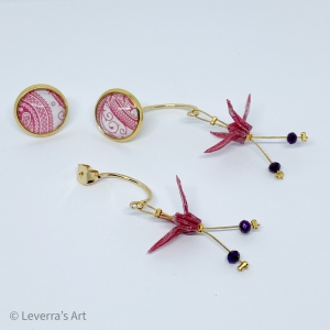 Handmade origami crane with cabochon earrings stud earrings made of origami paper, Pink Weiß - Handarbeit kaufen