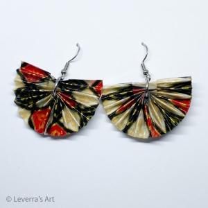 Origami Fächer Ohrringe, Ohrhänger, Schwarz Weiß Rot Gold Bunt, Handgefertigt, aus Origami Papier gefaltet, Schmuck, Perfektes Geschenk - Handarbeit kaufen