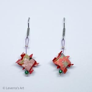 Origami Schildkröten Ohrringe Ohrhänger Handgemacht, Rosa Bunt, Schmuck aus Origami Papier, Perfektes Geschenk  - Handarbeit kaufen