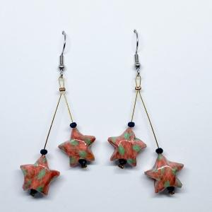 Origami Ohrringe Sterne Hängeohrringe Edelstahl, Handgemacht aus Origami Papier, Erhältlich in Chirurgenstahl Titan Hypoallergen Clips  - Handarbeit kaufen