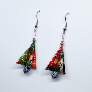 Origami Ohrringe Weihnachtsbaum Baum Ohrhänger Edelstahl, Handgemacht aus Origami Papier, Erhältlich in Chirurgenstahl Titan Hypoallergen Clips  (Kopie id: 100256636) - Handarbeit kaufen
