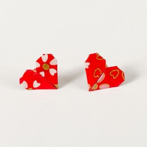 Origami Herz Ohrstecker Valentinstag Geschenk Edelstahl Papierschmuck Geschenk Frauen Hypoallergen Ohrringe