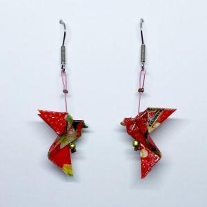 Origami Taube Ohrringe Ohrhänger, Pink Japanisch, Handgemacht aus Origami Papier Hypoallergen, Erhältlich in Chirurgenstahl Titan Hypoallergen Clips, Geschenk mit Bedeutung