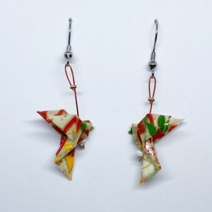 Origami Taube Ohrringe Ohrhänger, Weiß Bunt Japanisch, Handgemacht aus Origami Papier Hypoallergen, Erhältlich in Chirurgenstahl Titan Hypoallergen Clips, Geschenk mit Bedeutung