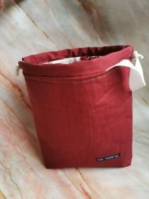 Love 1 - Projekttasche für Handarbeiten mit bordeaux farbenem Kordelzug - Handarbeit kaufen
