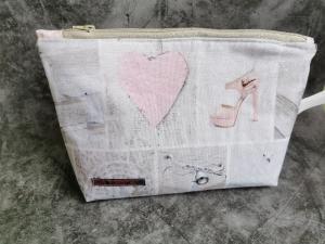 Love 3 – Projekttasche Möwe mit rosa Innenstoff und Reißverschluß - Handarbeit kaufen