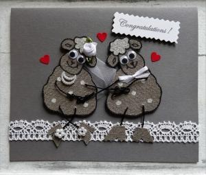 Hochzeitskarte XL, handgemacht, mit 3D Leinen-Schäfchen, Klappkarte - Handarbeit kaufen