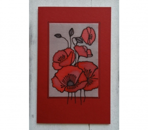 Grußkarte ohne Anlass XL, Seidenmalerei rote Mohnblumen, handgemacht, für Frauen, für Männer - Handarbeit kaufen