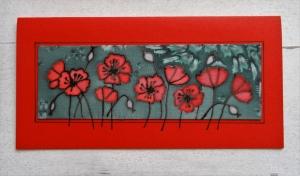 Grußkarte ohne Anlass, Seidenmalerei rote Mohnblumen, für Frauen, für Männer - Handarbeit kaufen