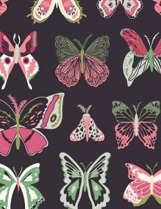 Baumwollstoff Meterware Art Gallery Marineblau Schmetterlinge