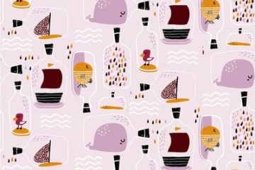 Baumwolljersey Stoff Nooteboom Kinderstoffe Rosa Flaschen