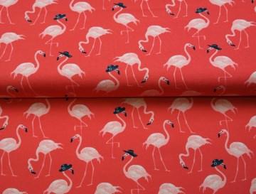 Jersey Stoff Meterware mit Flamingos von Stenzo - rot