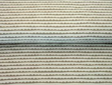 BIO Jersey Stoff Meterware mit Streifen und Wolkenform von Stenzo - beige