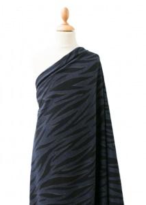Stretch Denim Jeansstoff mit Zebra Motiv lillestoff - marineblau, schwarz