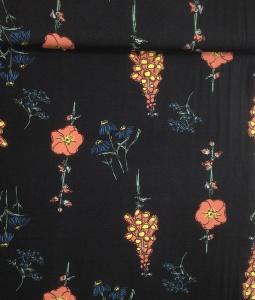 Modal Jersey Stoff mit Wildblumen // lillestoff Floral Rain // Meterware Stoffe zum nähen // schwarz, rosa blau - pro 0,5m
